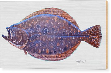 Flounder Wood Print by Carey Chen