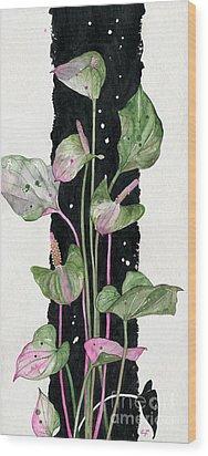Wood Print featuring the painting Flower Anthurium 02 Elena Yakubovich by Elena Yakubovich