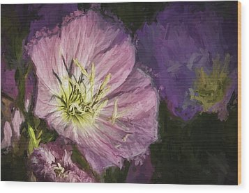 Wood Print featuring the painting Flower At 4pm by Ike Krieger