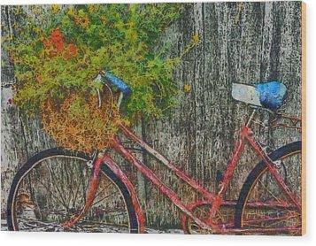 Flower Basket On A Bike Wood Print by Mark Kiver