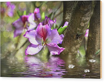 Flower Bauhinia And Simulation Of Water Wood Print
