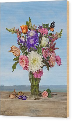 Flower Bouquet On A Ledge Wood Print by Levin Rodriguez