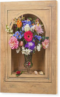 Flower Bouquet On Closed Niche Wood Print by Levin Rodriguez