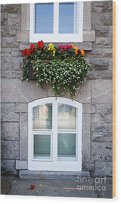 Flower Box Old Quebec City Wood Print by Edward Fielding