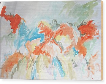 Wood Print featuring the painting Flower Bursts by Esther Newman-Cohen
