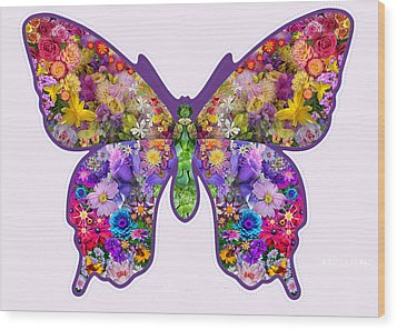 Flower Butterfly Wood Print by Alixandra Mullins