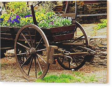 Flower Cart Wood Print by Design Windmill