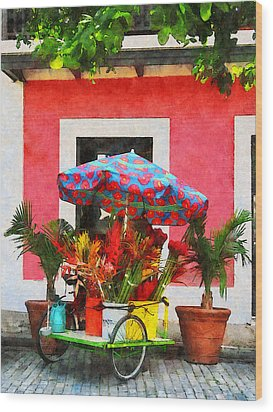 Flower Cart San Juan Puerto Rico Wood Print by Susan Savad