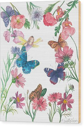 Flower Fairy Illustrated Butterfly Wood Print