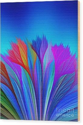 Flower Fantasy In Blue Wood Print by Klara Acel
