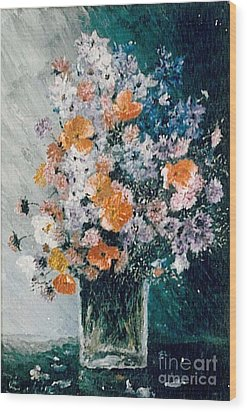 Wood Print featuring the painting Flower Field by Sorin Apostolescu