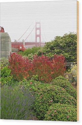 Flower Garden At The Golden Gate Bridge Wood Print by Connie Fox