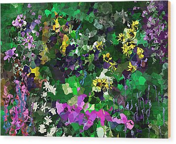 Wood Print featuring the digital art Flower Garden by David Lane