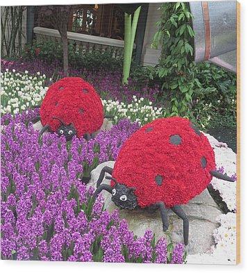 Flower Garden Ladybug Purple White I Wood Print by Navin Joshi