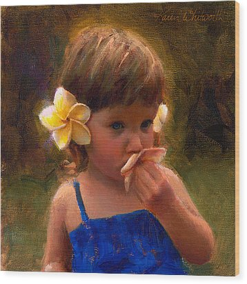 Flower Girl - Tropical Portrait With Plumeria Flowers Wood Print by Karen Whitworth