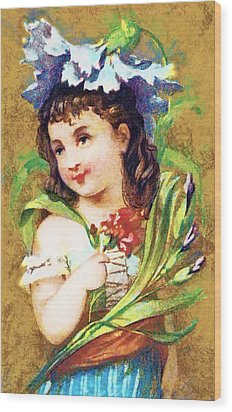 Flower Girl Wood Print by Vintage Trading Cards