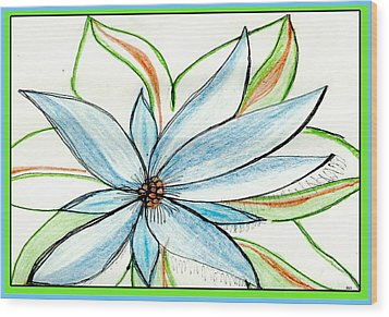 Flower In Blue Wood Print by Becky Sterling