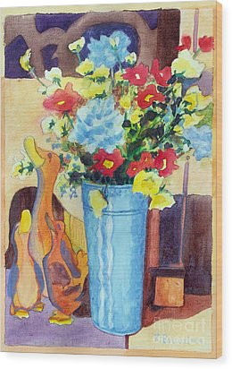 Flower In The Dell Wood Print by Kathy Braud
