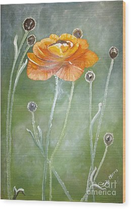 Flower In The Mist Wood Print by Judy Morris