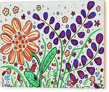 Flower Joy Wood Print by Sarah Loft