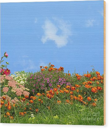 Flower Landscape Art Wood Print by Boon Mee