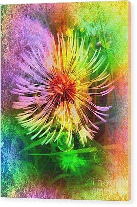 Wood Print featuring the digital art Flower Light by Nico Bielow