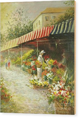 Flower Market Wood Print by Madeleine Holzberg
