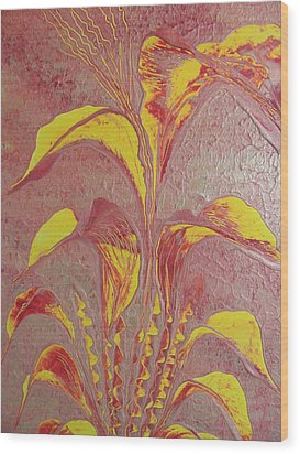 Wood Print featuring the painting Flower by Nico Bielow