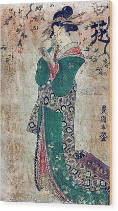 Flower Of Japan C. 1804 Wood Print by Daniel Hagerman