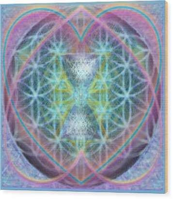Flower Of Life Forested Chalice In Passion Brights Wood Print by Christopher Pringer