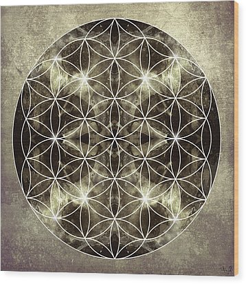 Flower Of Life Silver Wood Print by Filippo B