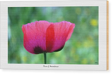 Flower Of Remembrance Wood Print by Martina  Rathgens