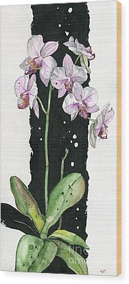Wood Print featuring the painting Flower Orchid 02 Elena Yakubovich by Elena Yakubovich