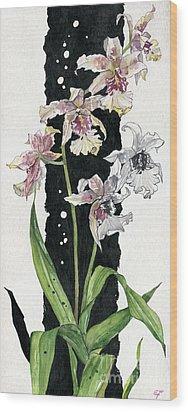 Wood Print featuring the painting Flower Orchid 06 Elena Yakubovich by Elena Yakubovich