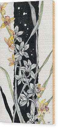 Wood Print featuring the painting Flower Orchid 07 Elena Yakubovich by Elena Yakubovich