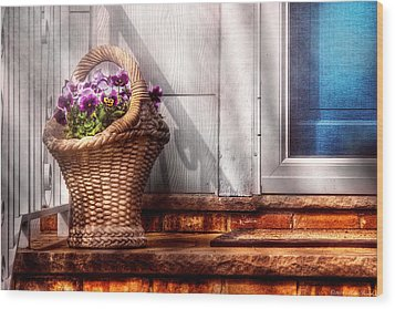 Flower - Pansy - Basket Of Flowers Wood Print by Mike Savad