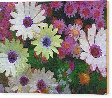 Flower Patch Wood Print by Diane Miller
