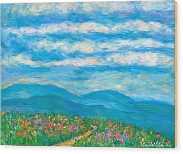 Flower Path To The Blue Ridge Wood Print by Kendall Kessler