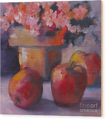 Wood Print featuring the painting Flower Pot And Apples by Michelle Abrams