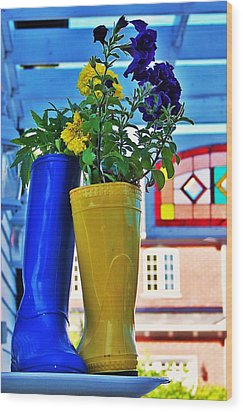 Wood Print featuring the photograph Flower Pots... by Al Fritz