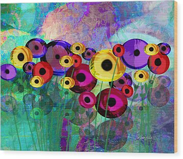 Flower Power Abstract Art  Wood Print by Ann Powell