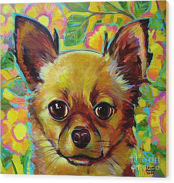 Wood Print featuring the painting Flower Power Chihuahua by Robert Phelps