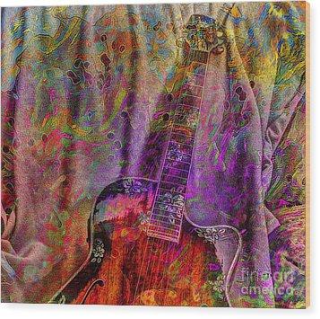 Flower Power Digital Guitar Art By Steven Langston Wood Print by Steven Lebron Langston