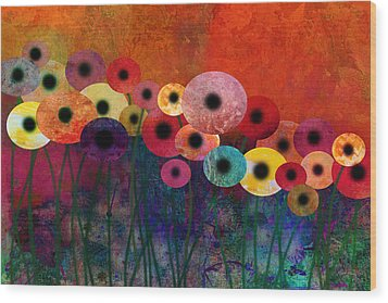 Flower Power Five Abstract Art Wood Print by Ann Powell