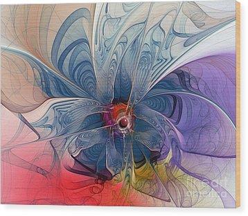 Flower Power-fractal Art Wood Print by Karin Kuhlmann