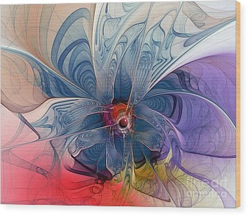 Flower Power-fractal Art Wood Print