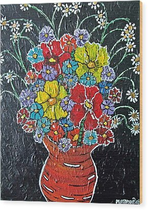 Flower Power Wood Print by Matthew  James