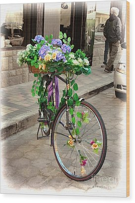 Flower Power Meets Pedal Power  Wood Print