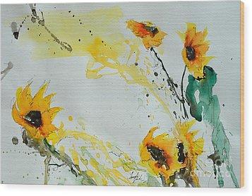 Flower Power- Sunflower Wood Print by Ismeta Gruenwald