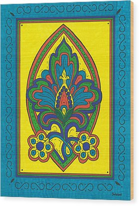 Wood Print featuring the painting Flower Power Talavera Style by Susie Weber